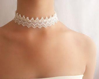 Gargantilla de perlas marfil Collar de boda beig por DIDIcrochet