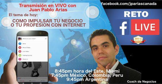 http://bit.ly/JuanPabloAriasENVIVO El día de hoy sesión de coaching EN VIVO. Conéctate https://www.facebook.com/jpariascanada