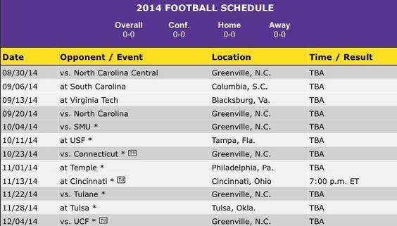 Ecu 2014 football schedule