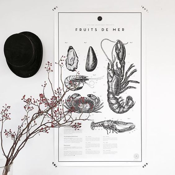 Friends and family gathering in Malmö this weekend | Tonight on the menu and on the wall, fruit de mer | Poster from @ateliergraphique🐚