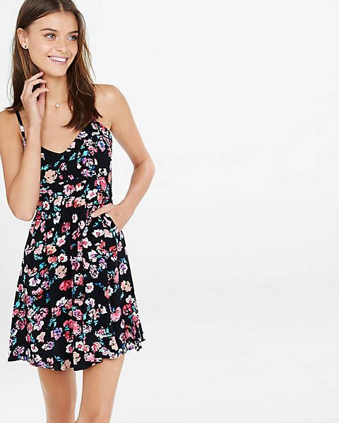Floral Print Sweetheart Neckline Cami Sundress   Express