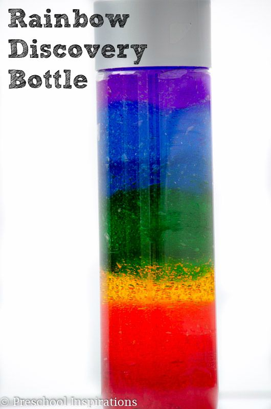 Rainbow Discovery Bottle by Preschool Inspirations