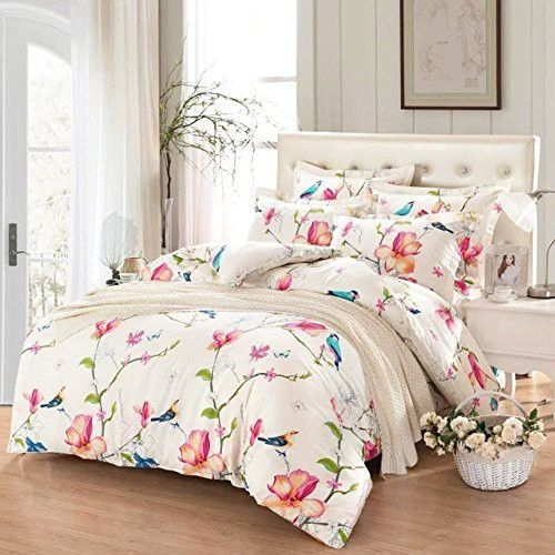 Botanical Flowers and Birds Pattern Printed 3pcs, Twin Size 100/% Cotton Bedding Floral Duvet Cover Set with Zipper Closure Wake In Cloud