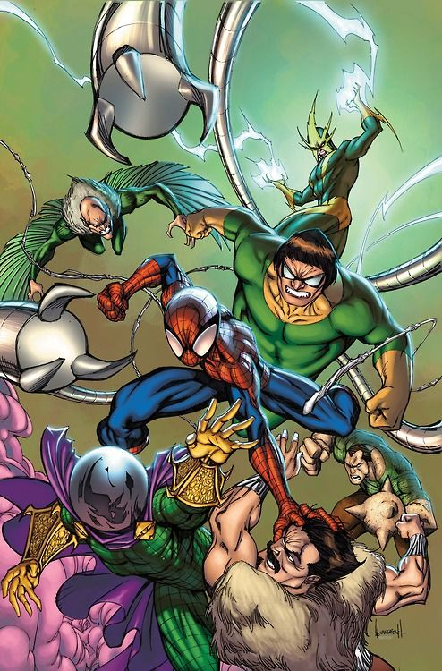 Spider-Man battles the Sinister Six