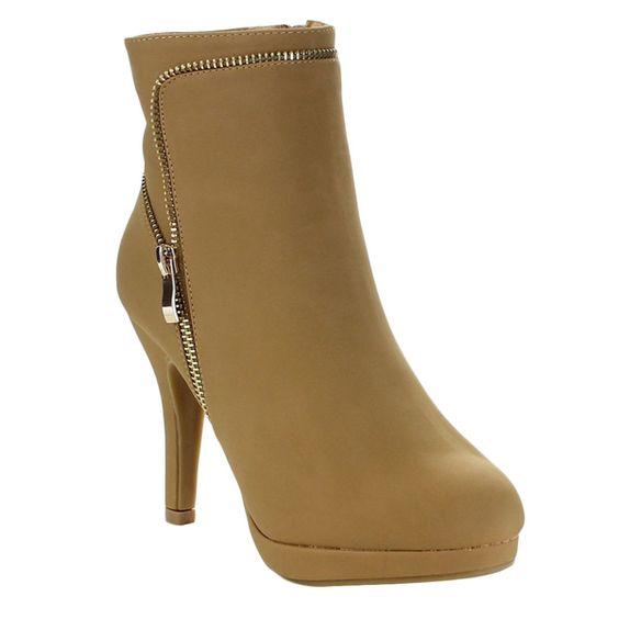 Top Moda GEORGE-31 Women's Zipper Stiletto Heel Platform Ankle Booties