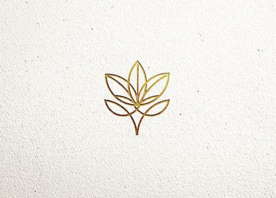 floral branding gold color minimal feminine logo