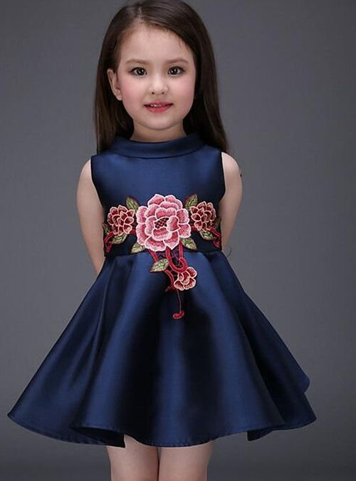 Kids Toddler Girls' Active Sweet Party Going out Floral Embroidered  Sleeveless Above Knee Dress Royal Blue 2021 - US $14.29   Baby girl dresses,  Little girl dresses, Kids outfits