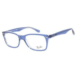 ray ban clear eyeglass frames  keep it classic and fun with these ray ban 5228 5111 top light blue transparent eyeglasses. this full acetate frame has a semi transparent blue finish with
