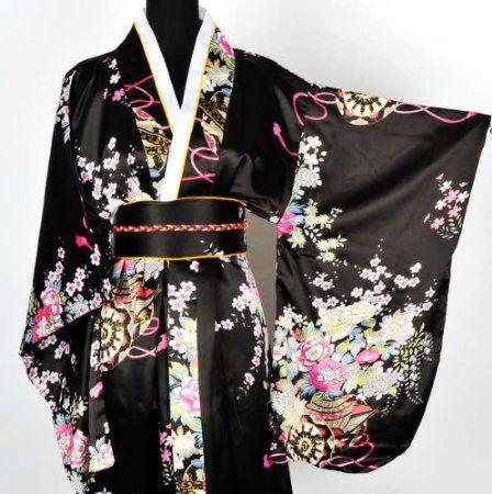 japanisch kimono robe yukata schlafanzug schwarz: amazon.de: küche