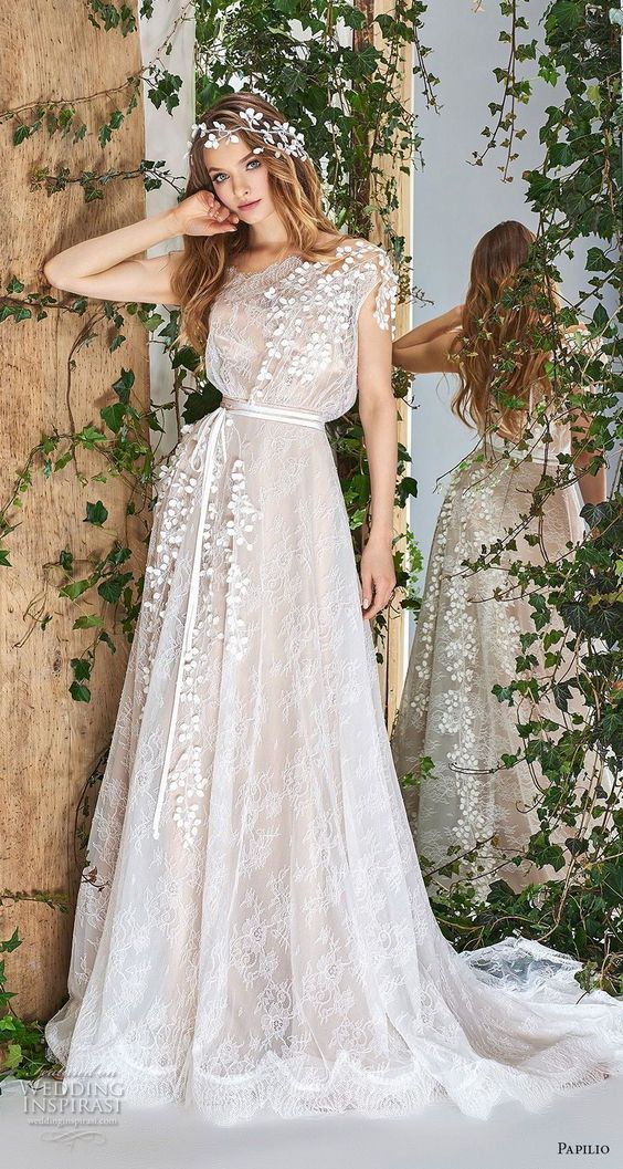 papilio 2018 bridal cap sleeves bateau neck full embellishment blouson romantic a line wedding dress