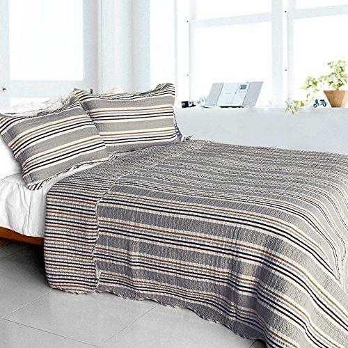 Elegant Stripe Cotton 3pc Vermicelli Quilted Striped Quilt Set
