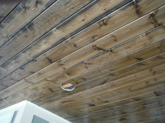 Pine Car Siding Porch Ceiling Stained House With Porch Porch Ceiling Porch Kits