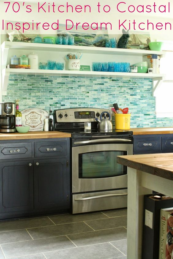 Primitive & Proper: My Shades of the Sea Vintage Kitchen (Or... The ...