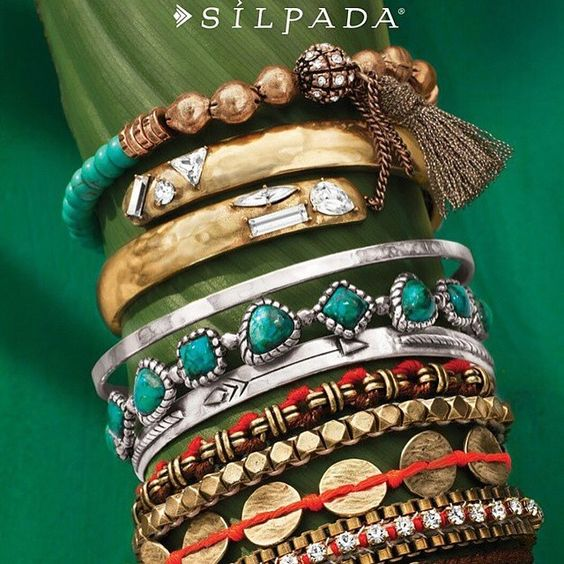 NEW Silpada & K&R bracelets:  Pictured top to bottom: Caribbean Cool Stretch Bracelet $45 Cobra Hinge Cuff $79 Social Circle Bangle $79 Turquoise Pools Bangle $149 Arrow Dynamic Bangle $89 Magic Carpet Bracelet $89  www.mysilpada.com/lori.dernehl