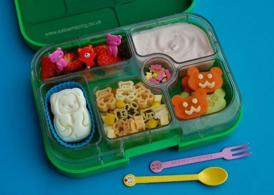 Monkey hard-boiled egg and bear themed yumbox bento lunch
