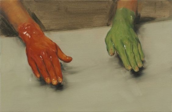 Red hand, Green Hand by Michael Borremans