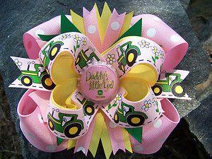 "PINK JOHN DEERE ""DADDY'S LITTLE GIRL"" BOTTLECAP HAIRBOW | eBay"