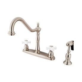 Elements Of Design New Orleans Satin Nickel 2-Handle High-Arc Kitchen Faucet With Side Spray