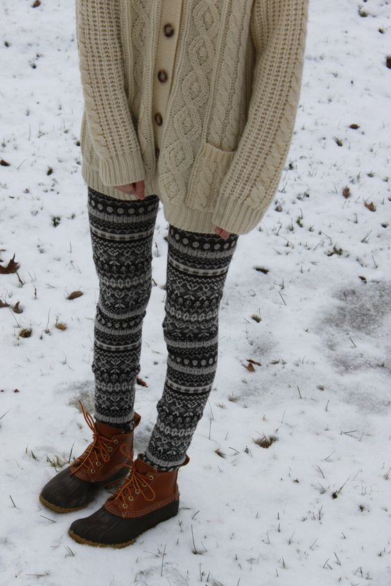 L.L.Bean - Bean Boots with sweater tights.