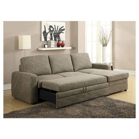 Derwyn Sectional Sofa Light Brown Linen Acme Target With Images Brown Sectional Sofa Sectional Sleeper Sofa Best Sleeper Sofa