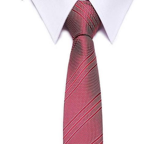 Pink White Stripe Mens Skinny Slim Narrow Woven Silk 5 cm Necktie Wedding Tie