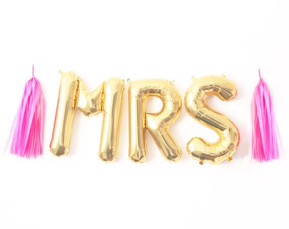 Mrs Balloon Garland with Tassels Kit - Bachelorette Party Bride Bridal Shower - Gold Letter Balloons Banner Decoration - Ideas by PaperboyParty on Etsy https://www.etsy.com/listing/243756323/mrs-balloon-garland-with-tassels-kit: