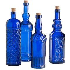 Assorted Cobalt Glass Bottles
