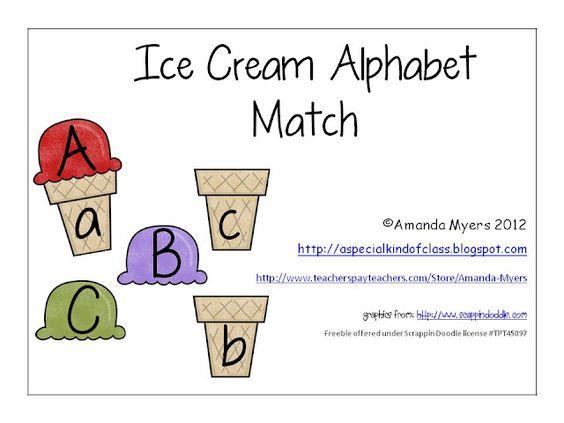 A special kind of class: Ice Cream Alphabet Match Freebie