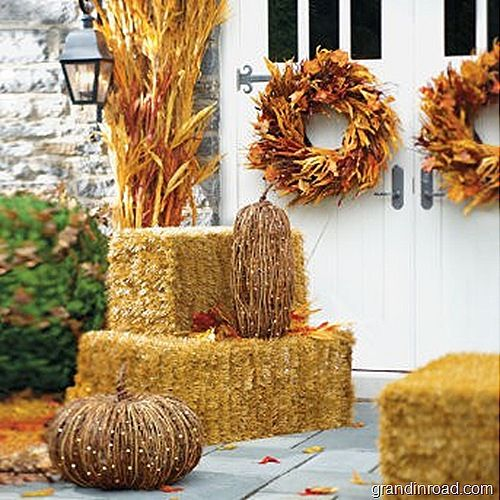 Fall hay and corn stalks on pinterest for Bales of hay for decoration