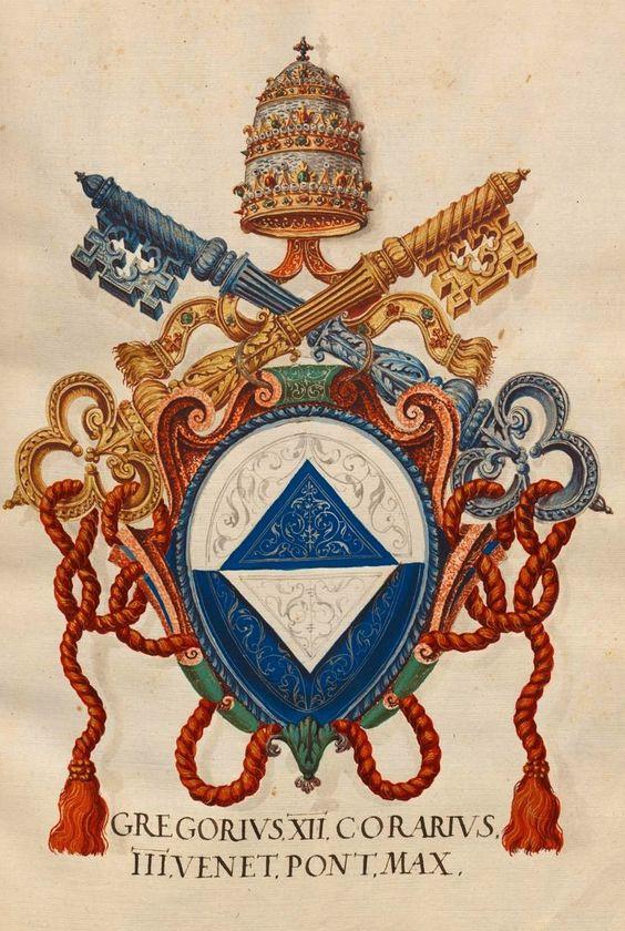 «Insigna pontificum Romanorum et cardinalium VI. Insignia Venetorum I», [S.l.] Italien, Mitte 16. Jh. [BSB Cod.icon. 271] -- f°4r: Gregorius XII Corarius III Venet. Pont. Max. [Pope Gregory XII, Angelo Correr, Italian (1326-1417)]. -- In tutti i manoscritti Fugger (Cod.icon. 266÷279) molti cognomi sono scritti in maniera sbagliata [MG]