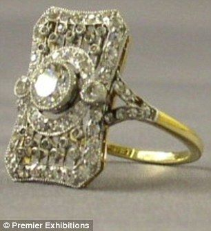 This hand-made platinum, 18 carat gold and diamond ring probably belonged to one of Titanic's first-class passengers