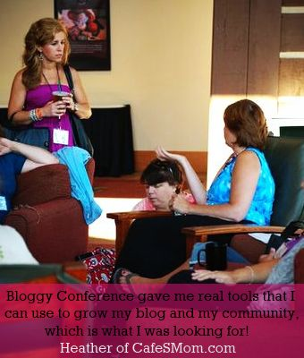 """Recognize anyone? """"Bloggy Conference gave me real tools that I can use to grow my blog and my community, which is what I was looking for!""""  ~ Heather of CafeSMom.com"""