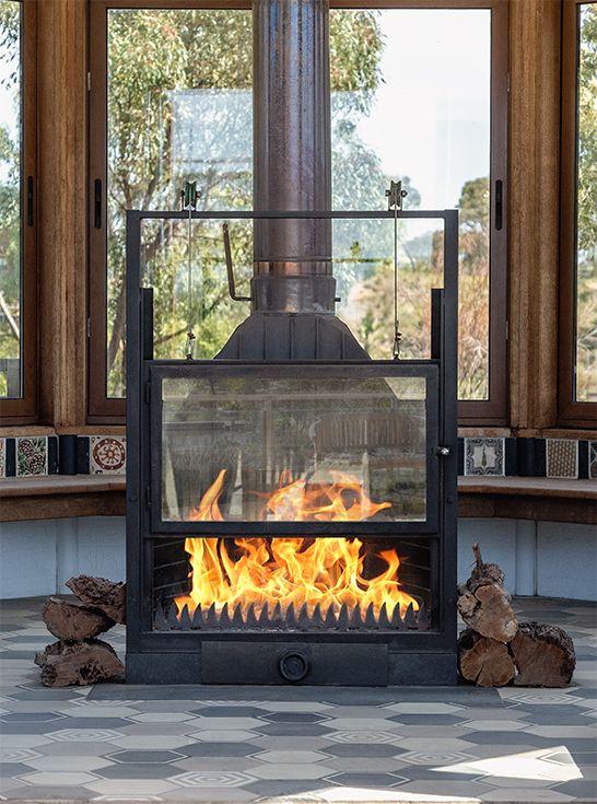 Vienna Black Cast Iron Wood Burner Fireplace Glass Door Fireplace Tile Surround Wood Burner