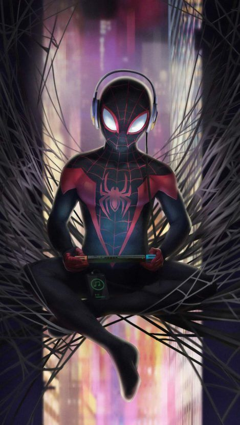 Spiderman Listening Music Iphone Wallpaper Iphone Wallpapers Spiderman Art Spiderman Artwork Superhero Wallpaper