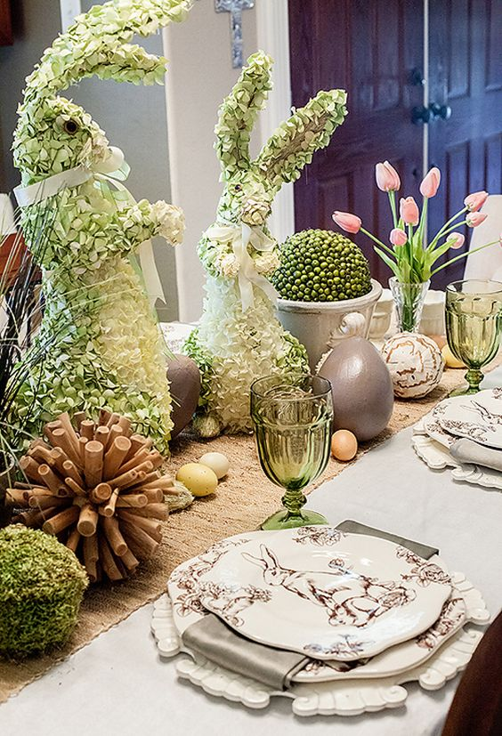 Easter table, reminds me of a gift/florist shop called Shamrock Gifts in Eugene, floral easter bunnies... amazing!: