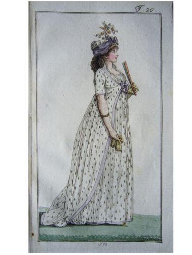 Gown and under gown with pretty pattern. Journal des Luxus under der Moden 1798: