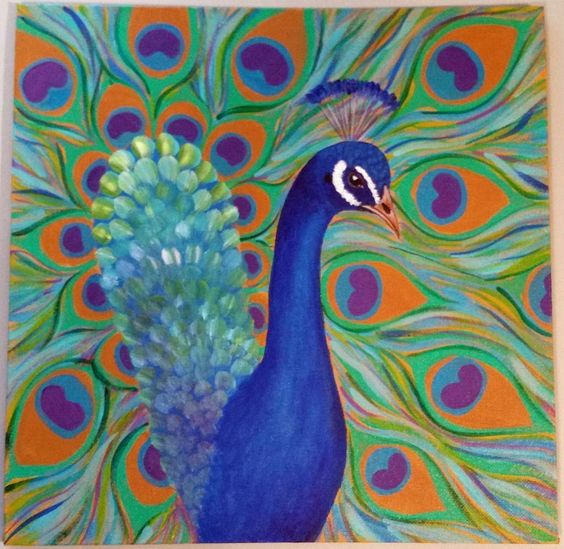 How to paint a peacock easy free acrylic tutorial for Easy peacock paintings