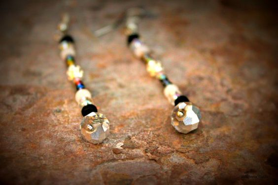 Handcrafted Black and Silver Beaded Dangle Earrings by #AmrcnWldFlwrDesigns on Etsy, $12.75