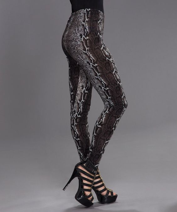 Another great find on #zulily! Black & White Snakeskin Leggings by Adore #zulilyfinds