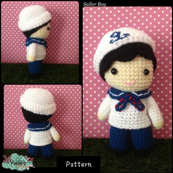 Free Amigurumi Boy Doll Patterns : Crochet pattern Doll : Nautical Sailor Boy Doll Amigurumi ...