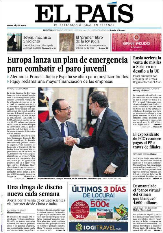Los Titulares y Portadas de Noticias Destacadas Españolas del 29 de Mayo de 2013 del Diario El País ¿Que le parecio esta Portada de este Diario Español?
