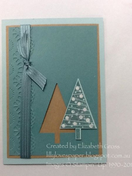 Festival of Trees Stamp set. Punch. Embossing folder at edge. Ribbon.