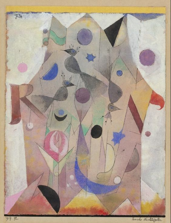 Paul Klee, Persian Nightingales, 1917. Gouache and watercolor. This work most likely alludes to the verses of the 14th century poet Hafiz.. Design is fine. History is mine.