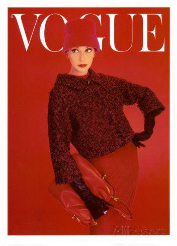 Couverture de Vogue, rose rouge, août 1956 Reproduction d'art
