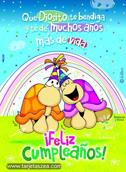Tortugas Abelardo y Eloisa celebrando cumpleaños u00a9 ZEA www tarjetaszea com Tarjetas de