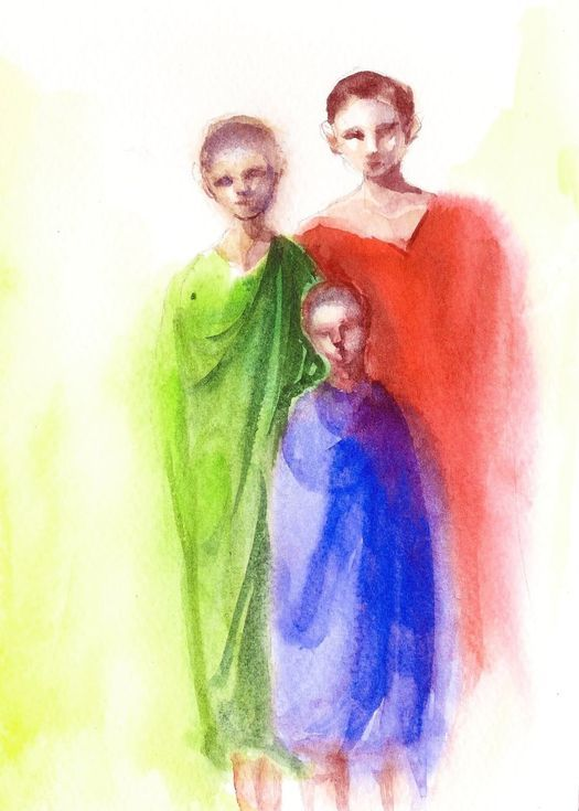 Family Painting Watercolor 5 X 7 Watercolour On Paper Small