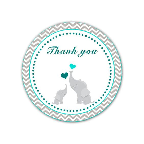 Elephant Thank You Labels Baby Shower Thank You Tag Teal ...