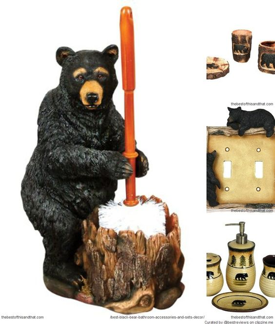 Cute black bear bathroom accessories for a rustic cabin for Rustic bear home decor