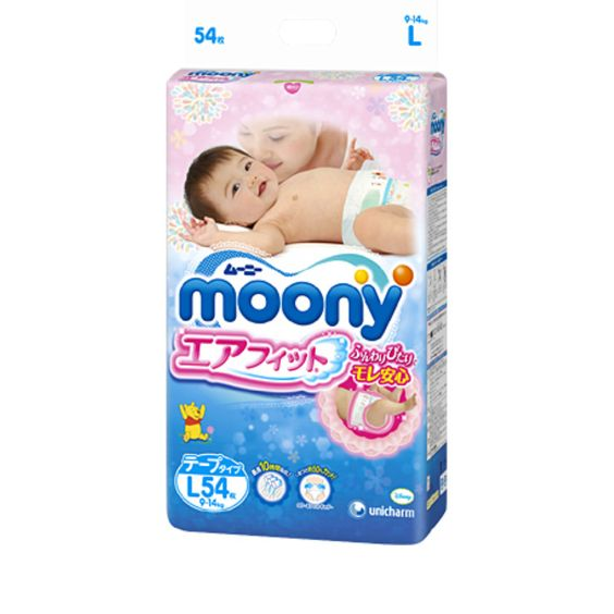 MOONY Airfit Large Size is designed for babies weighing between 9 to 14 kg. This product is a tape type and helps baby skin dry and clean.The notice sign makes it easy to know when to replace - the line changes blue-green after urination. One of the best selling nappies in Japan, Moony L will provide your loving baby with maximum care.  Producer: Unicharm Country of Production: Japan Type: Large Tape Type Amount: 54 sheets Weight: Approx. 2kg Delivery: Directly from Japan