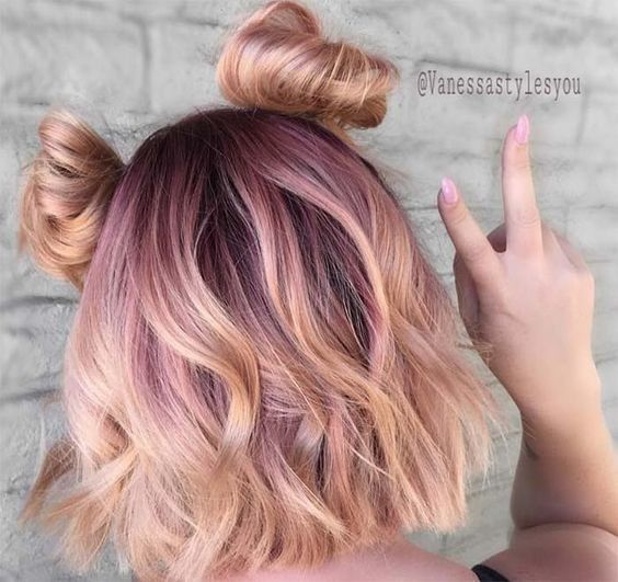 Pale Pink To Gold Space Buns Half Up Hairstyles For Short Hair Festival Hairstyles For Hair With Color Hair Color Rose Gold Peach Hair Gold Hair Colors